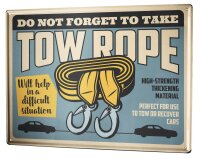 Tin Sign XXL Vintage Car Towing rope car