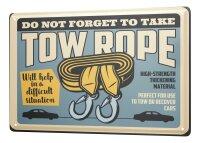 Tin Sign XXL Vintage Car Towing rope car