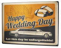 Tin Sign XXL Marriage Happiness Wedding Limousine