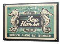 Tin Sign XXL Fun Ravtive Seahorse Bar Beach