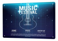 Tin Sign XXL Cinema Music Festival Guitar