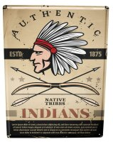 Tin Sign XXL Nostalgic Western Style Native American