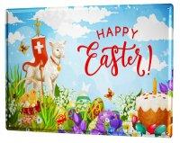 Tin Sign XXL Retro Easter Lamb Eggs