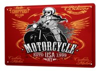 Tin Sign XXL Garage Motorcycle USA Woman