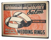 Tin Sign XXL Just Married Ravtive Wedding Rings
