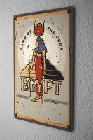 Tin Sign XXL Pharaoh Sun God Egypt Archaeology Vintage