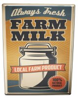 Tin Sign XXL Kitchen Organic Farmers Milk