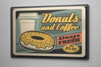 Tin Sign XXL Coffee Cafe Bar Coffee and donuts