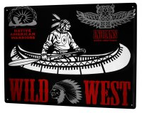 Tin Sign XXL USA Native Wild West Canoe