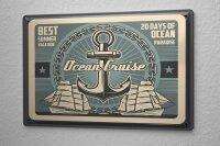 Tin Sign XXL Nostalgic Anker Sailing Ship