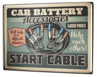 Tin Sign XXL Vintage Car Car battery