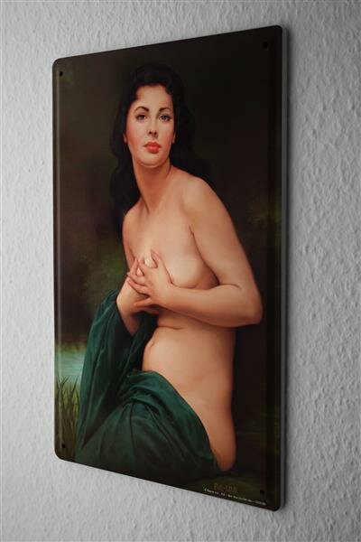 Tin Sign Baron half-naked woman wrapped in the style of an oil painting in green cloth 20x30 cm Vintage