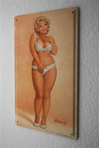 Tin Sign Baron sexy pinup girl style in white underwear 20x30 cm Vintage
