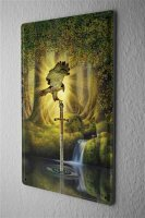 Tin Sign Gothic Raptor sword forest water Dream World...