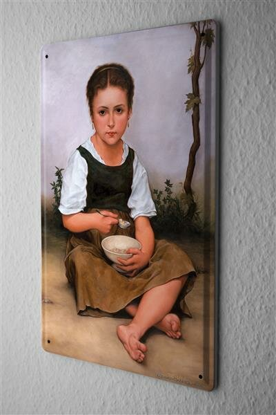 Tin Sign Baron young girl sitting eating with spoon and bowl barefoot 20x30 cm Vintage