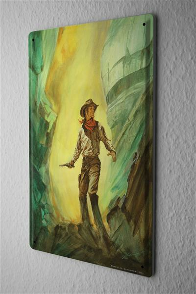 Tin Sign Baron cowboy with pistol in hand against mountain backdrop 20x30 cm Vintage