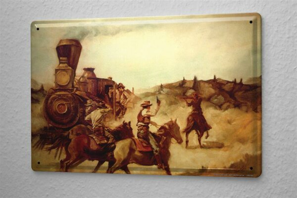Baron Tin Sign Western assault with horses on a train in the prairie cowboy 20x30 cm Vintage