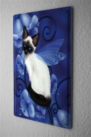 Tin Sign Gothic Cat wings flowers Dream World Vintage