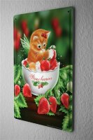 Tin Sign Fantasy Gothic Cat wing strawberries