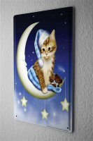 Tin Sign Fun Ravtive Crescent Cat sleepyhead