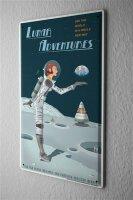 Tin Sign Nostalgic Space Moon landing astronaut
