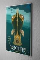 Tin Sign Space Star Moon Neptune