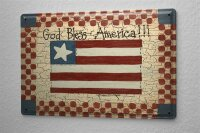 Tin Sign Holiday Travel Agency God bless America