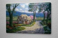 Tin Sign Retro Mountain Landscape House Path