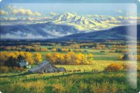 Tin Sign Retro Farm Cows mountains