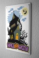 Tin Sign Halloween Dark House with bats pumpkin moon...