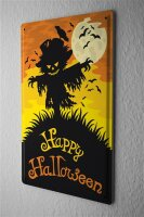 Tin Sign Happy Halloween scary scarecrow with moon and...