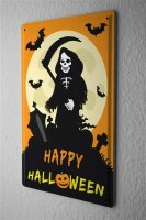 Tin Sign Happy Halloween with scary grim reaper on...