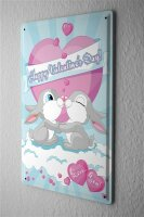 Tin Sign Happy Valentine rabbit with heart kiss I love...