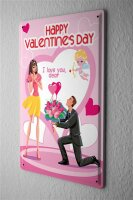 Happy Valentines Day Tin Sign Man with flowers and heart...