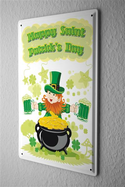 Tin Sign Happy Saint Patricks Day green beer tank with gold comic cartoon satire 20x30 cm