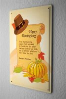 Blechschild  Happy Thanksgiving Day Kürbis Hut mit...