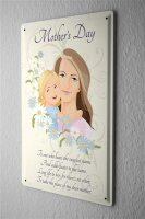 Tin Sign Mother Mother and Child English text flowers...