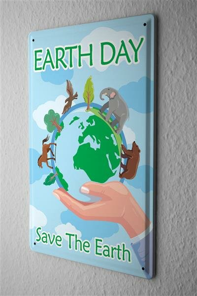 Tin Sign Earth Day Save the Earth globe with animals in hand cartoon comic satire 20x30 cm