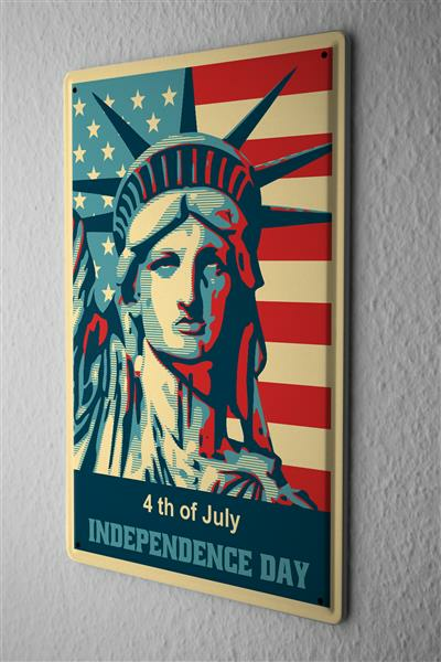 Tin Sign fourth July Independence Day Statue of Liberty with American flag comic cartoon satire 20x30 cm