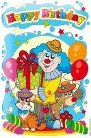 Tin Sign Happy Birthday birthday card with balloon clown...