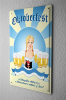 Tin Sign Oktoberfest with beer Blond Waitress with...