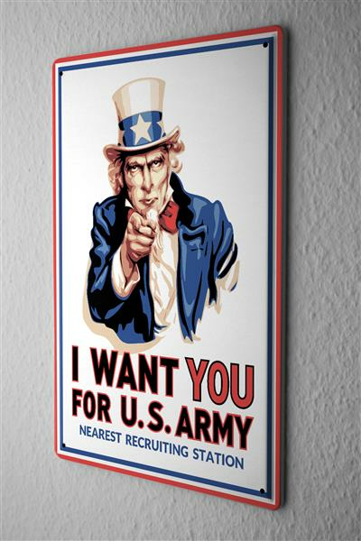 Blechschild I WANT YOU FOR U.S. ARMY nearest recruiting station Hut mit Stern comic cartoons Satire 20x30 cm