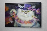 Tin Sign Fun Ravtive Cat with hat Painting