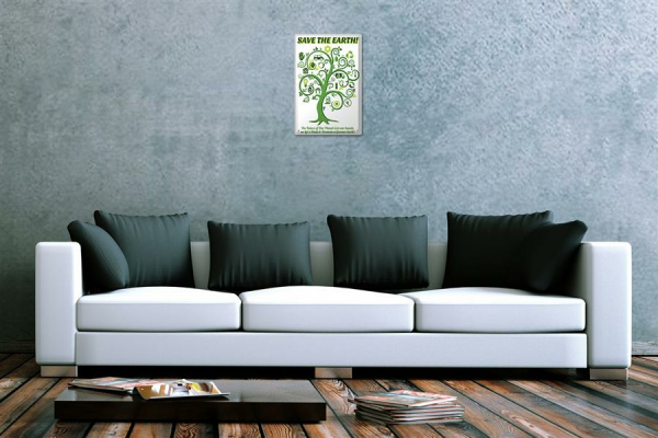 Blechschild Save the Earth grüner Baum mit Symbolen und Text comic cartoons Satire 20x30 cm