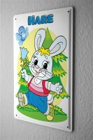 Tin Sign sweet little rabbit with green eyes and comVogel...