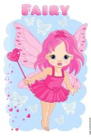 Tin Sign cute little fairy with heart wand and hearts...