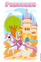 Tin Sign princess castle horse before riding tree trench...
