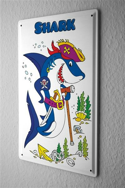 Tin Sign pirate shark with eye patch and sword cane cartoon comic satire 20x30 cm