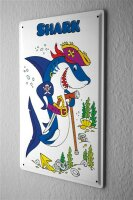 Tin Sign pirate shark with eye patch and sword cane...