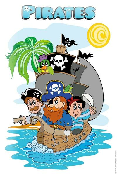 Tin Sign pirates with pirate ship Jolly Roger Parrot Island comic cartoon satire 20x30 cm